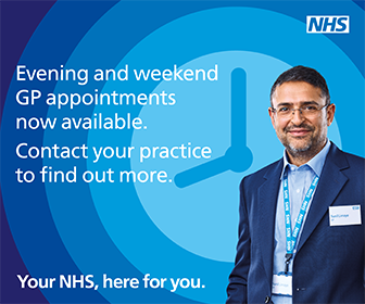 Image from national NHS campaign about GP appointments being available in evenings and at weekends